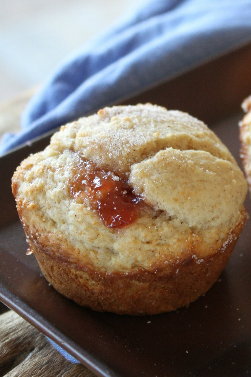 strawberry cinnamon muffin with a blue napkin displayed in background