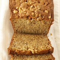 Mom's Banana Nut Bread recipe sliced