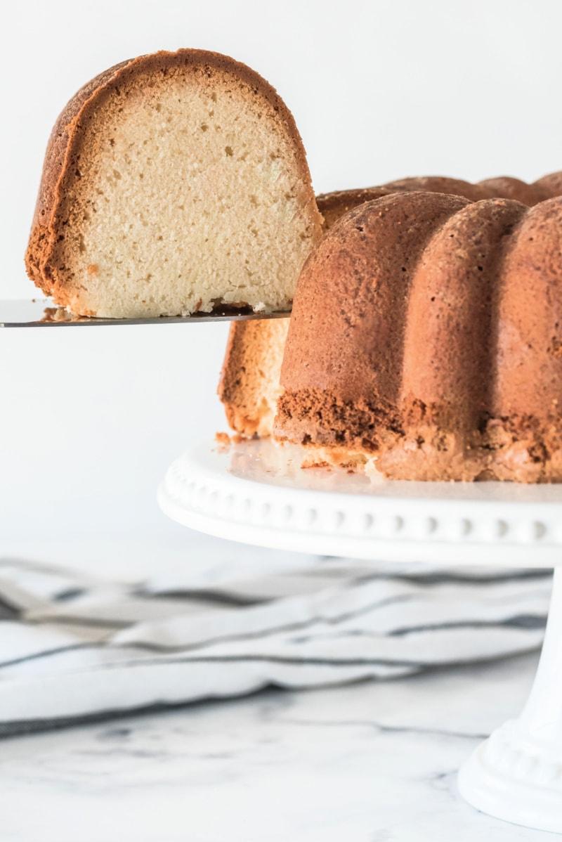 slice being taken out of pound cake