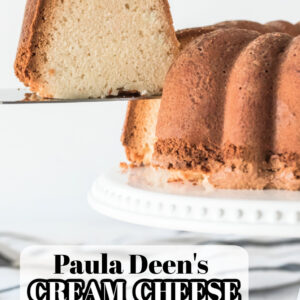 pinterest image for paula deen's cream cheese pound cake