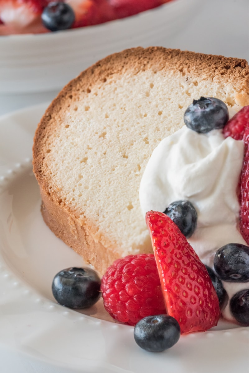 pound cake with whipped cream and berries
