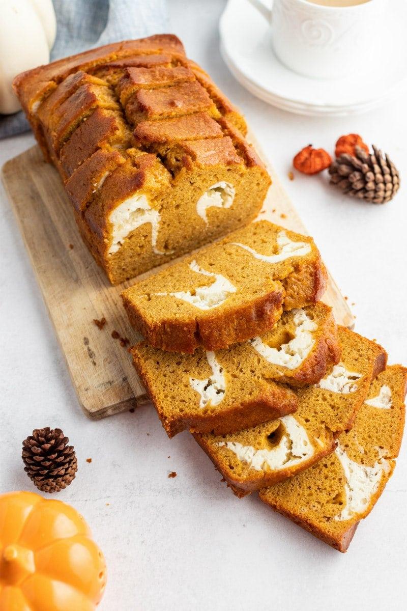 pumpkin cream cheese swirl bread sliced