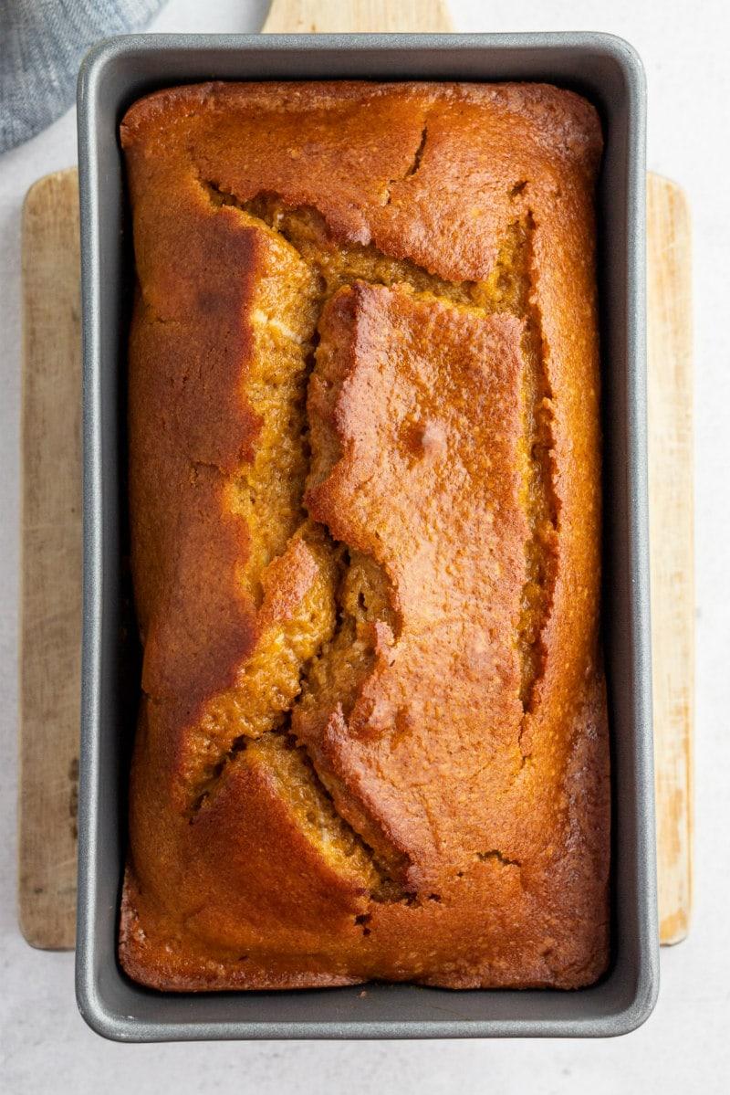 loaf of pumpkin bread in pan