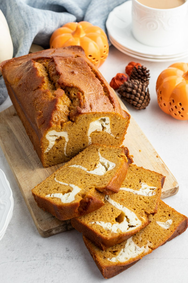 loaf of pumpkin cream cheese bread sliced