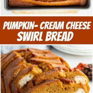 pinterest collage image for pumpkin cream cheese swirl bread