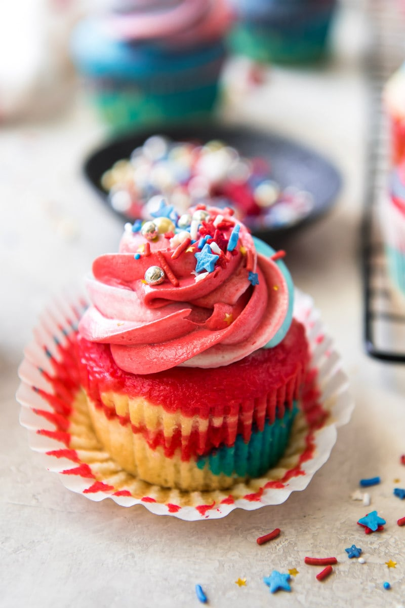 Red White and Blue Cupcakes with wrapper peeled back