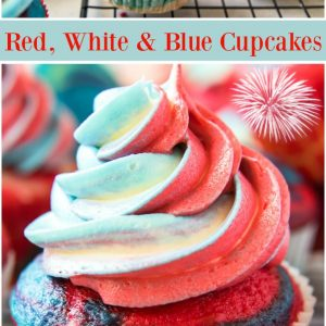 pinterest collage image for red white and blue cupcakes