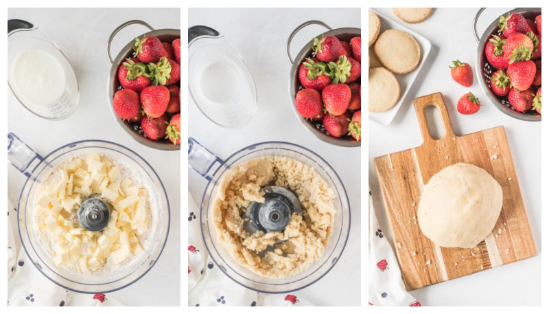 three photos showing process of making dough for galette in food processor