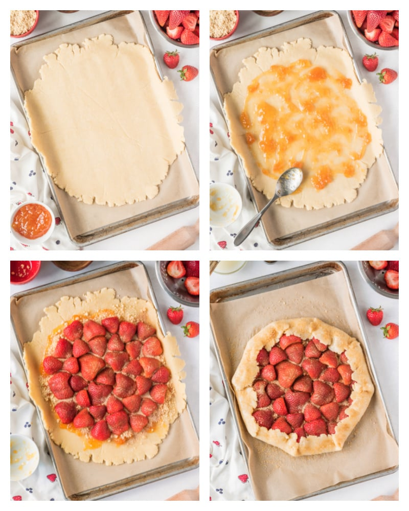 four photos showing process of assembling rustic strawberry galette