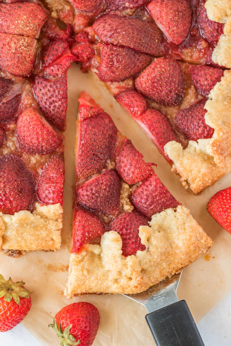 slice pulled from rustic strawberry galette