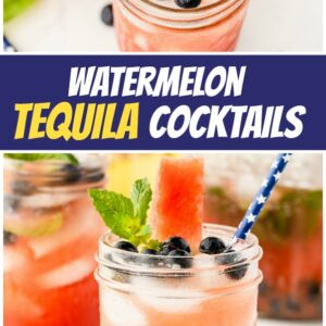 pinterest collage image for watermelon tequila cocktails