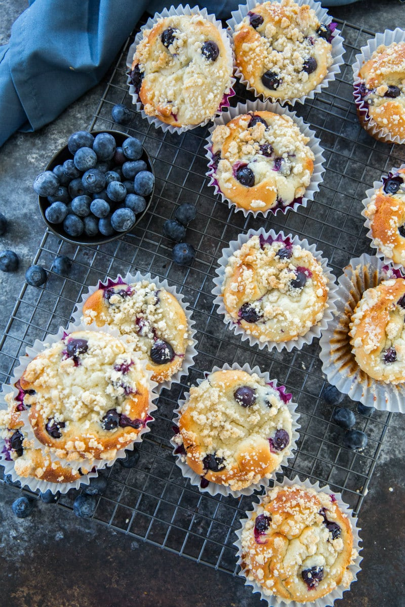 overhead shot of blueberry muffins with fresh blueberries