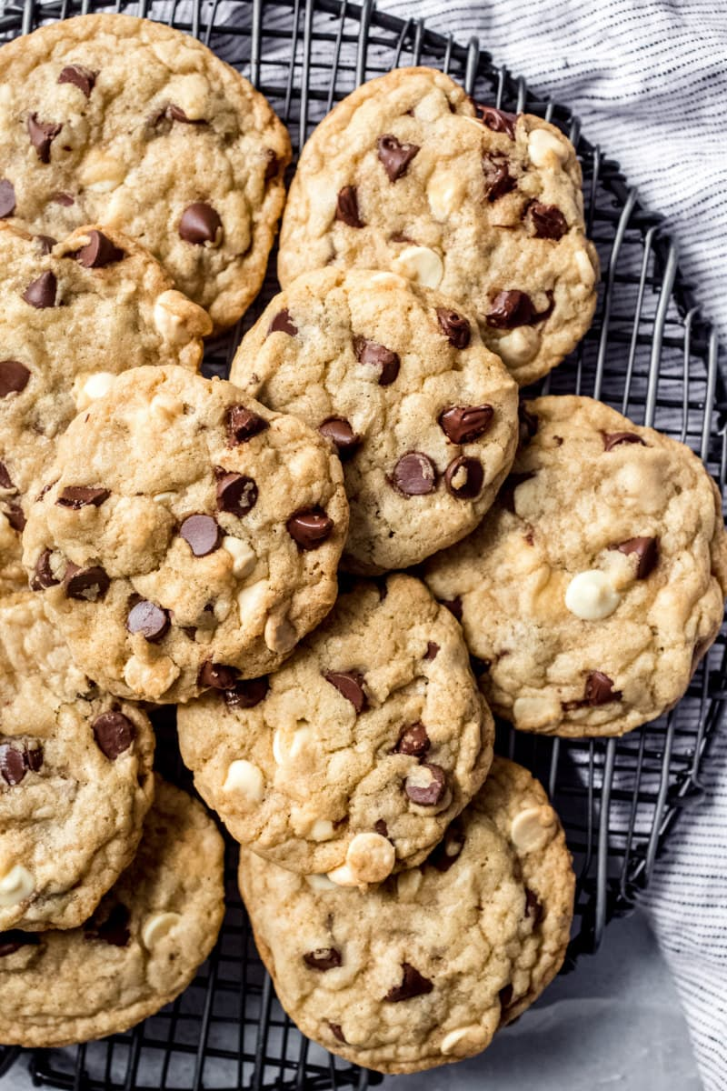 platter of Black and White Chewy Chocolate Chip Cookies