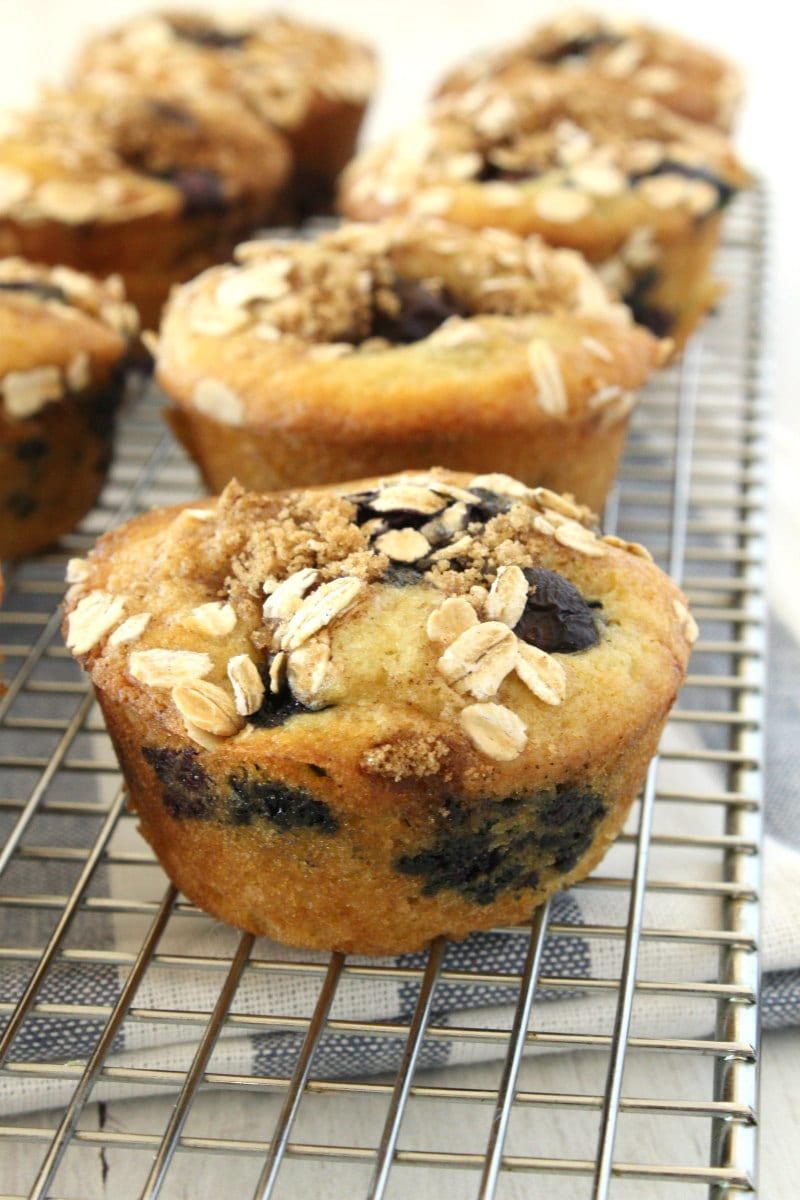 Blueberry Cinnamon Muffins on a cooling rack