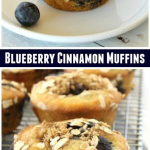 Pinterest collage image for Blueberry Cinnamon Muffins