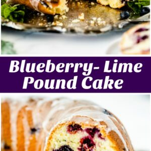 pinterest collage image for blueberry lime pound cake