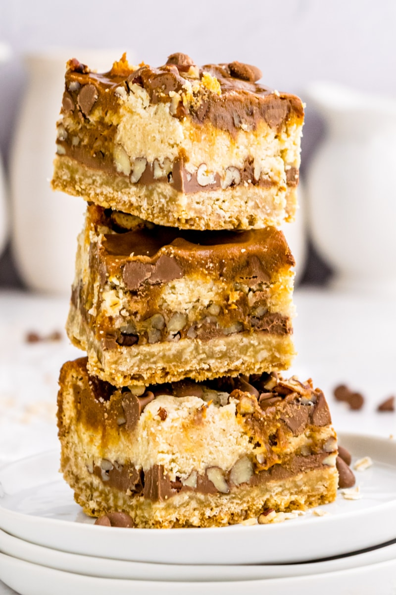 stack of three carmelitas on white plate
