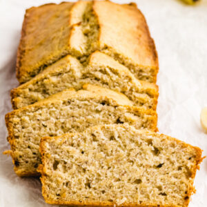 loaf of banana bread sliced