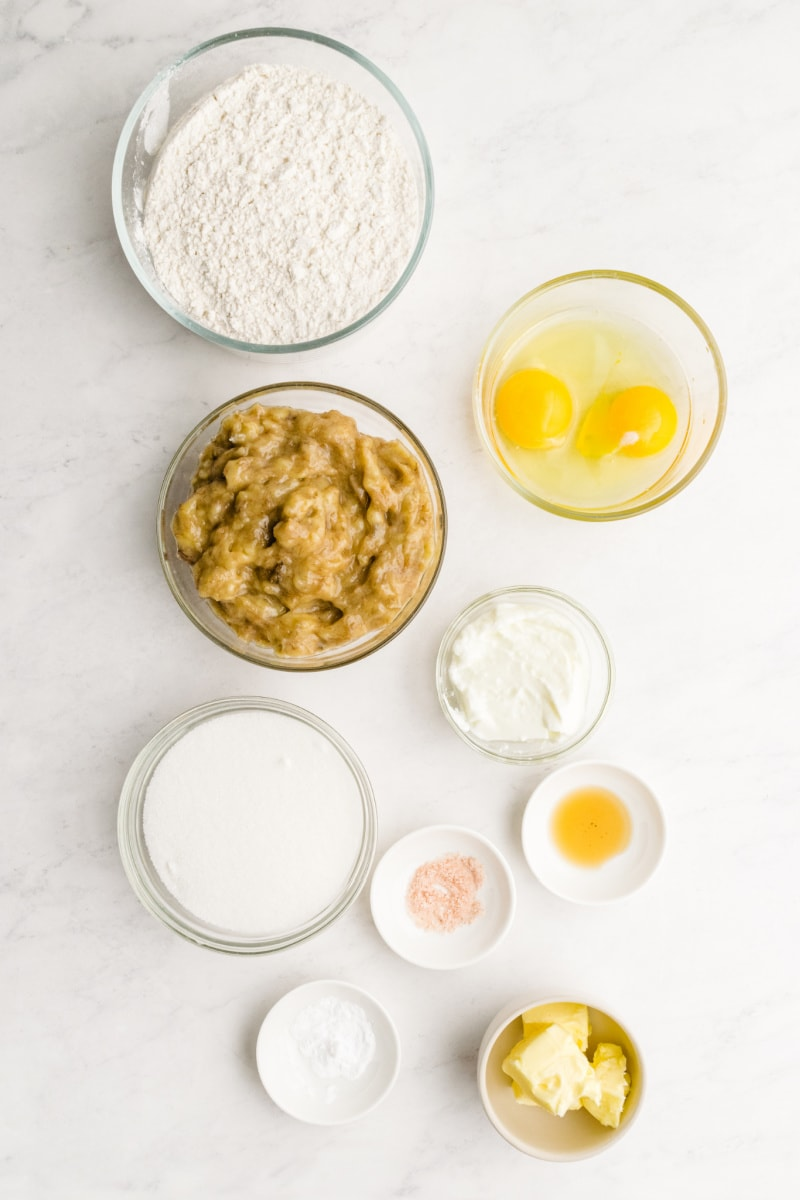 ingredients displayed for classic banana bread