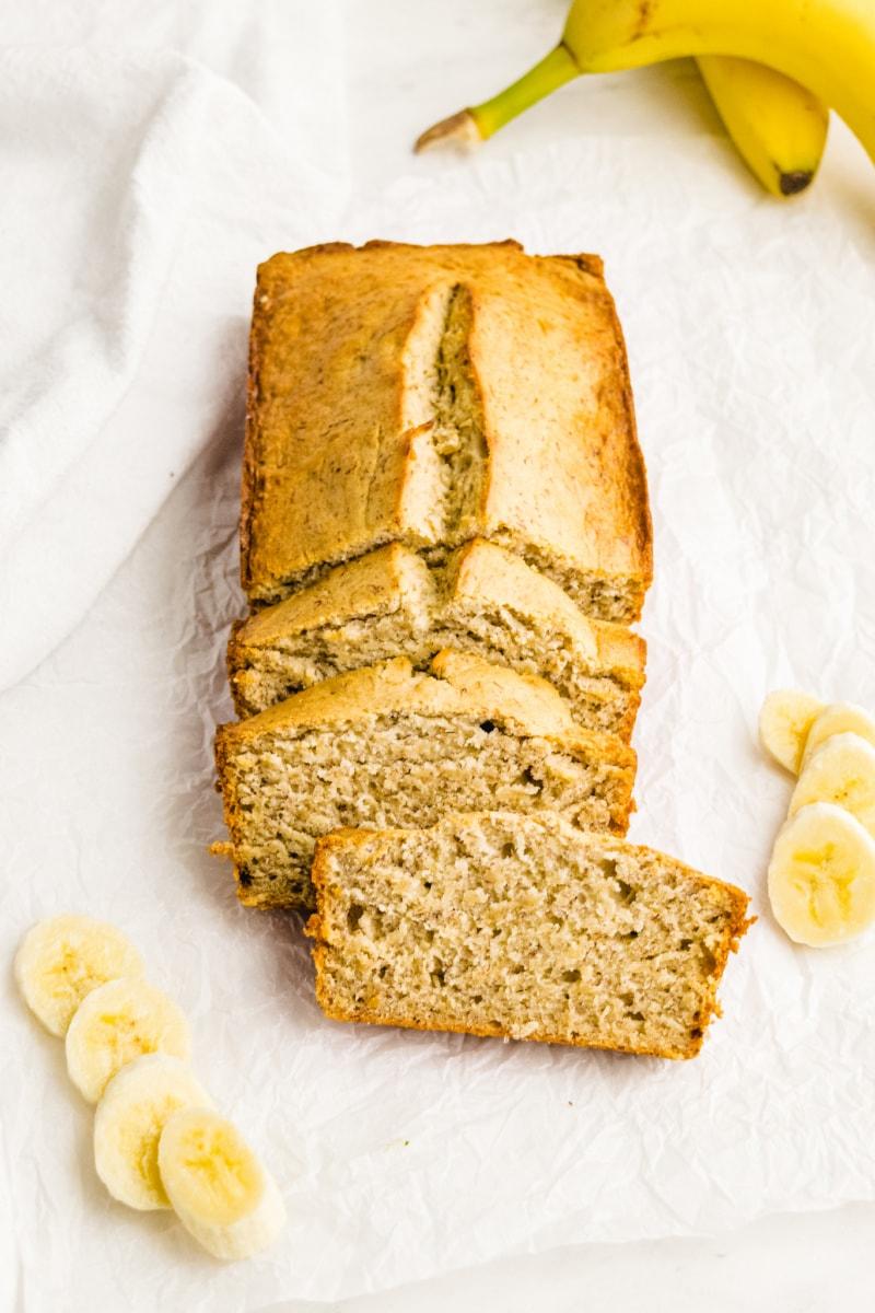 classic banana bread loaf sliced