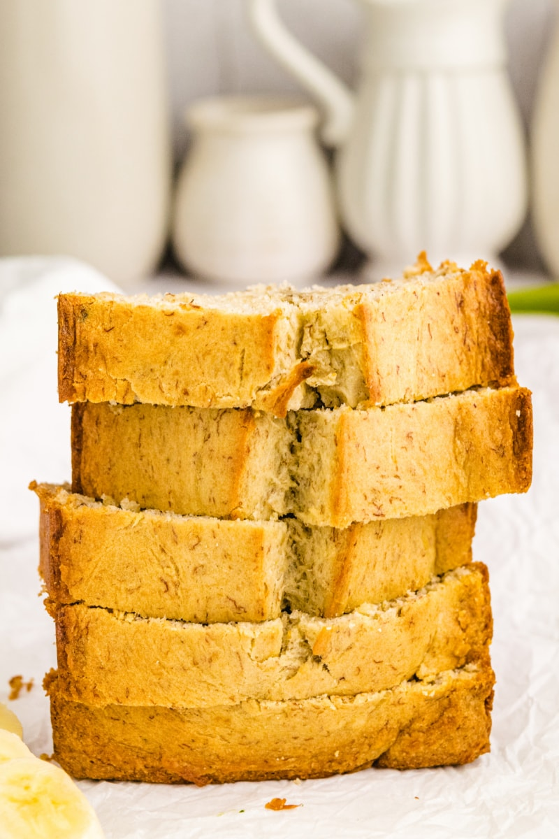 slices of banana bread stacked