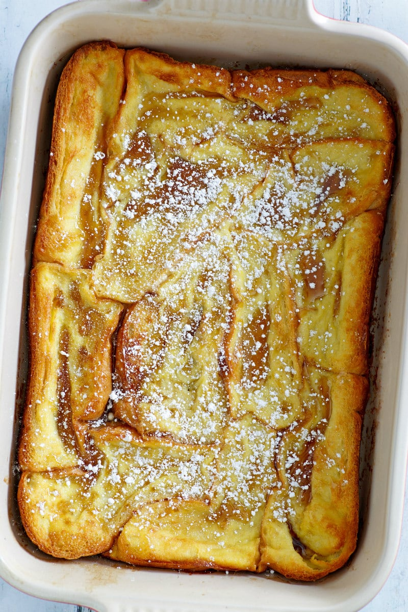 Creme Brulee French Toast in a Casserole Dish