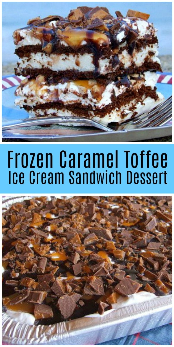 pinterest collage image for frozen caramel toffee ice cream sandwich dessert