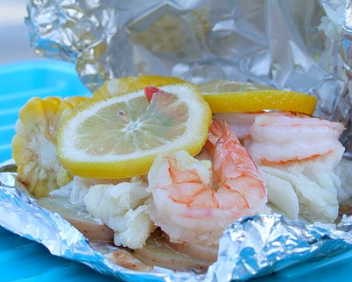 Grilled New England Seafood Foil Packets opened up after grilling