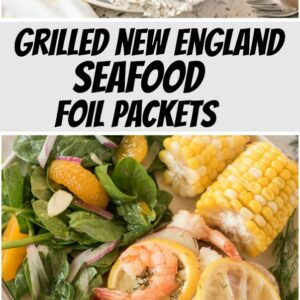 pinterest collage image for grilled new england seafood foil packets