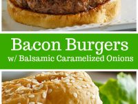 pinterest collage image for bacon burgers with balsamic caramelized onions