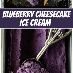 pinterest collage image for blueberry cheesecake ice cream