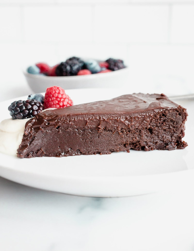 slice of chocolate truffle cake