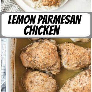 pinterest collage image for lemon parmesan chicken