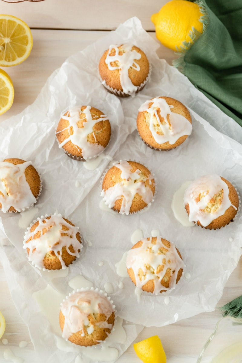 overhead shot of lemon pound cake muffins with glaze