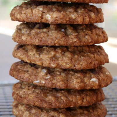 stack of low fat oatmeal chocolate chip cookies