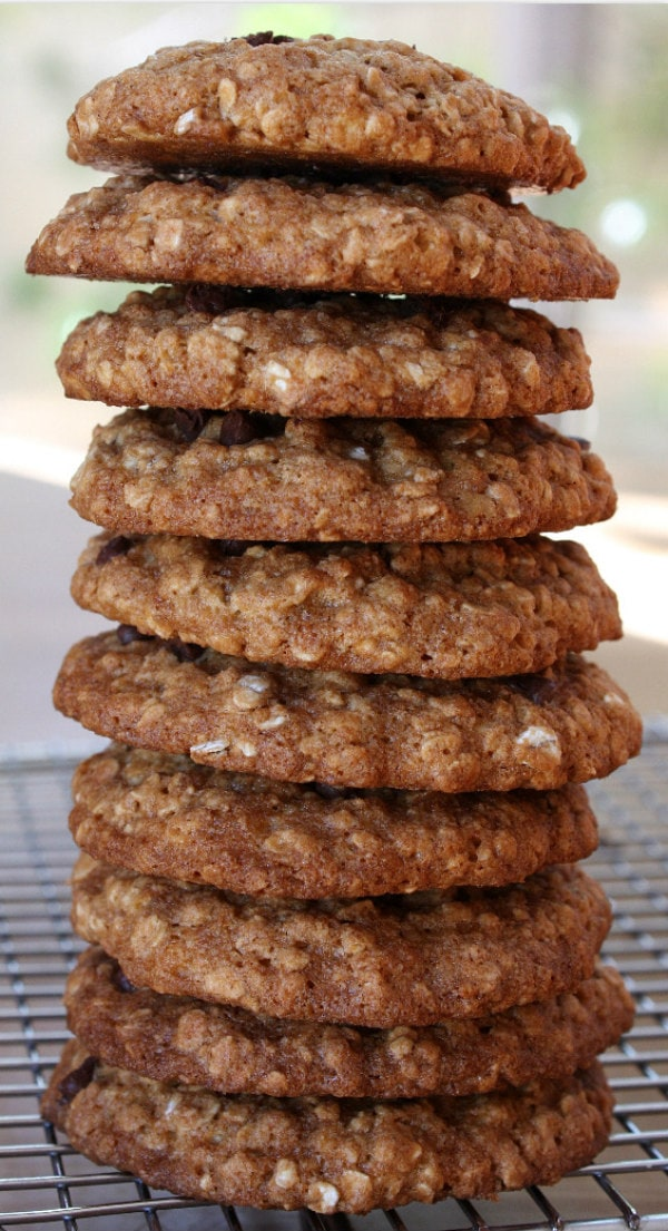 Stack of Low Fat Chocolate Chip Oatmeal Cookies