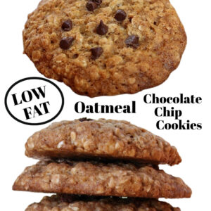 pinterest collage image for low fat oatmeal chocolate chip cookies