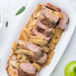roasted double pork tenderloin with fresh sage and apple