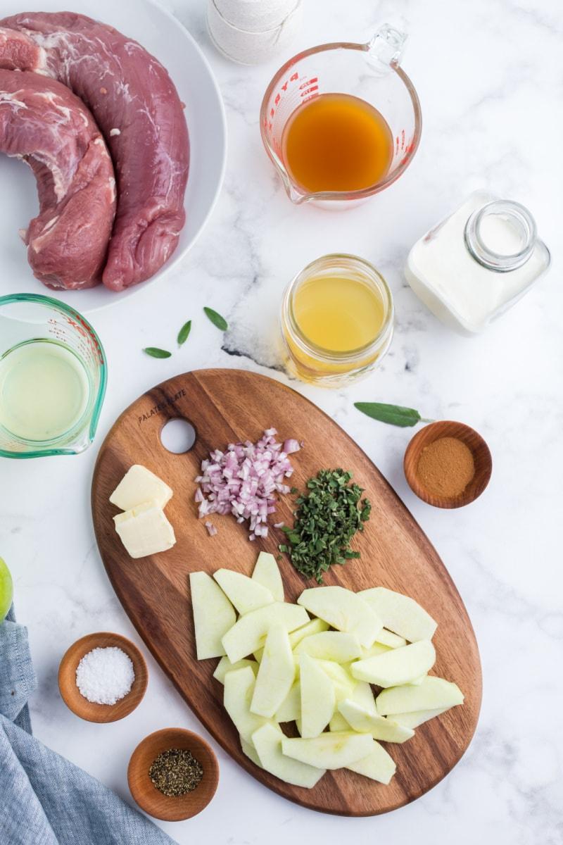 ingredients displayed for making roasted double pork tenderloin