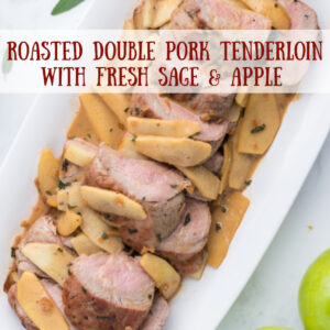 pinterest image for roasted double pork tenderloin
