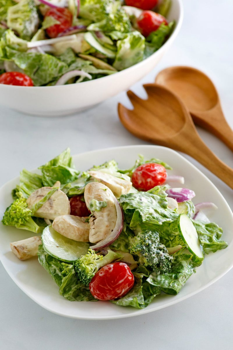 Plated Romaine and Broccoli Salad