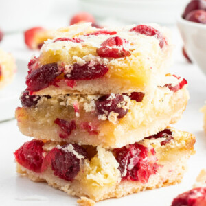 stack of three cranberry coconut squares