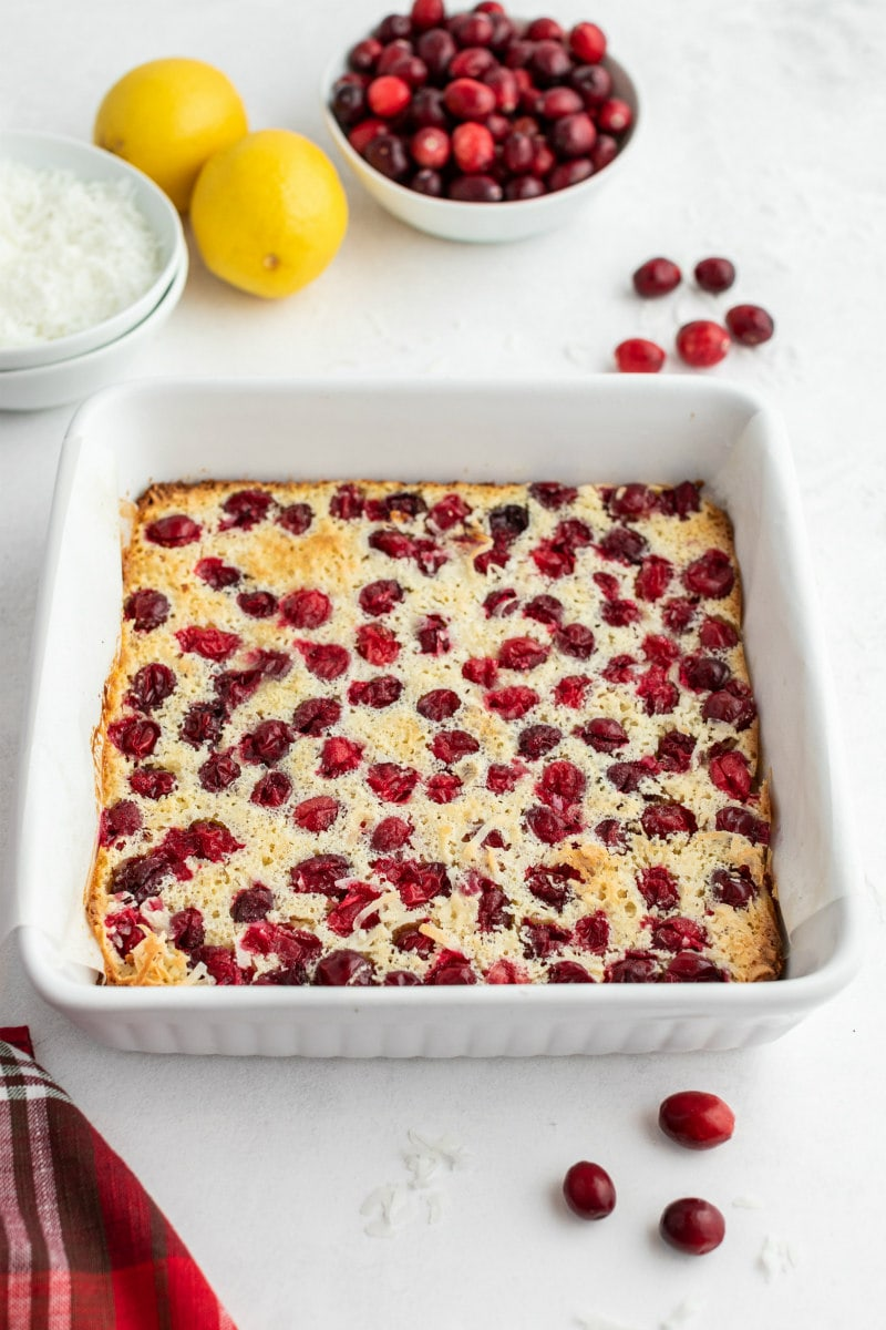 cranberry coconut squares baked in a square pan