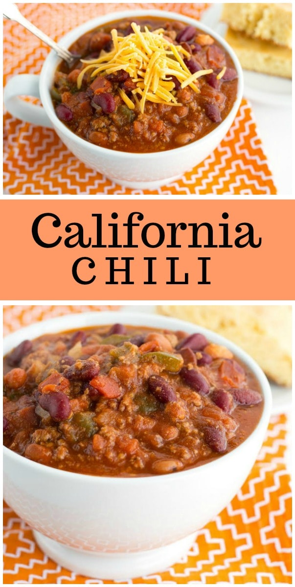 California Chili recipe : a healthy, Weight Watchers friendly chili recipe from RecipeGirl.com #chili #recipe #weightwatchers #wwfreestyle #smartpoints