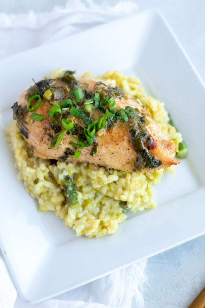 Chicken Diane served over risotto