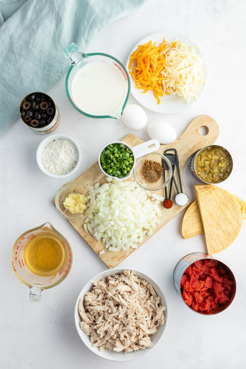 ingredients displayed for enchilada casserole