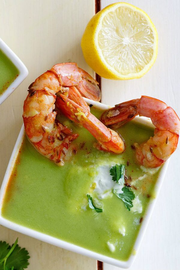 Bowl of Chilled Zucchini Soup with Shrimp
