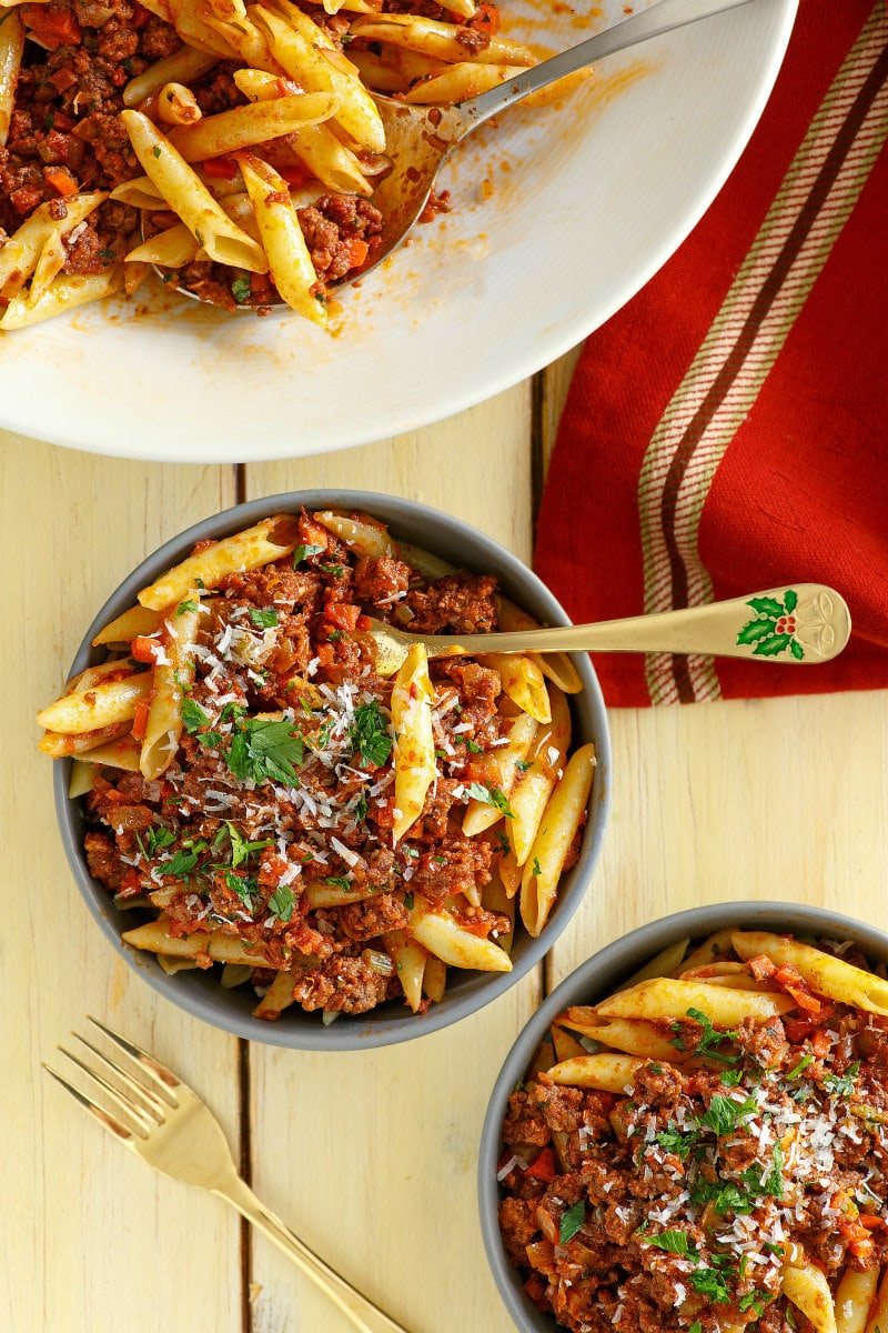 Christmas Pasta served up in dishes