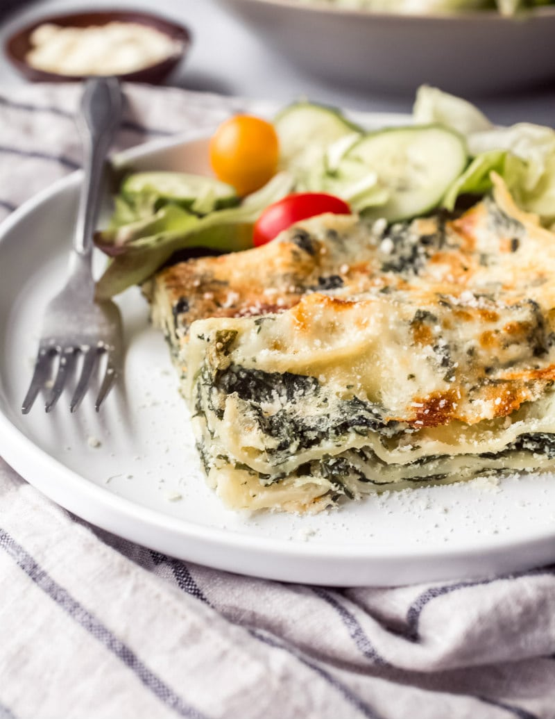 Easy Spinach Lasagna served with salad