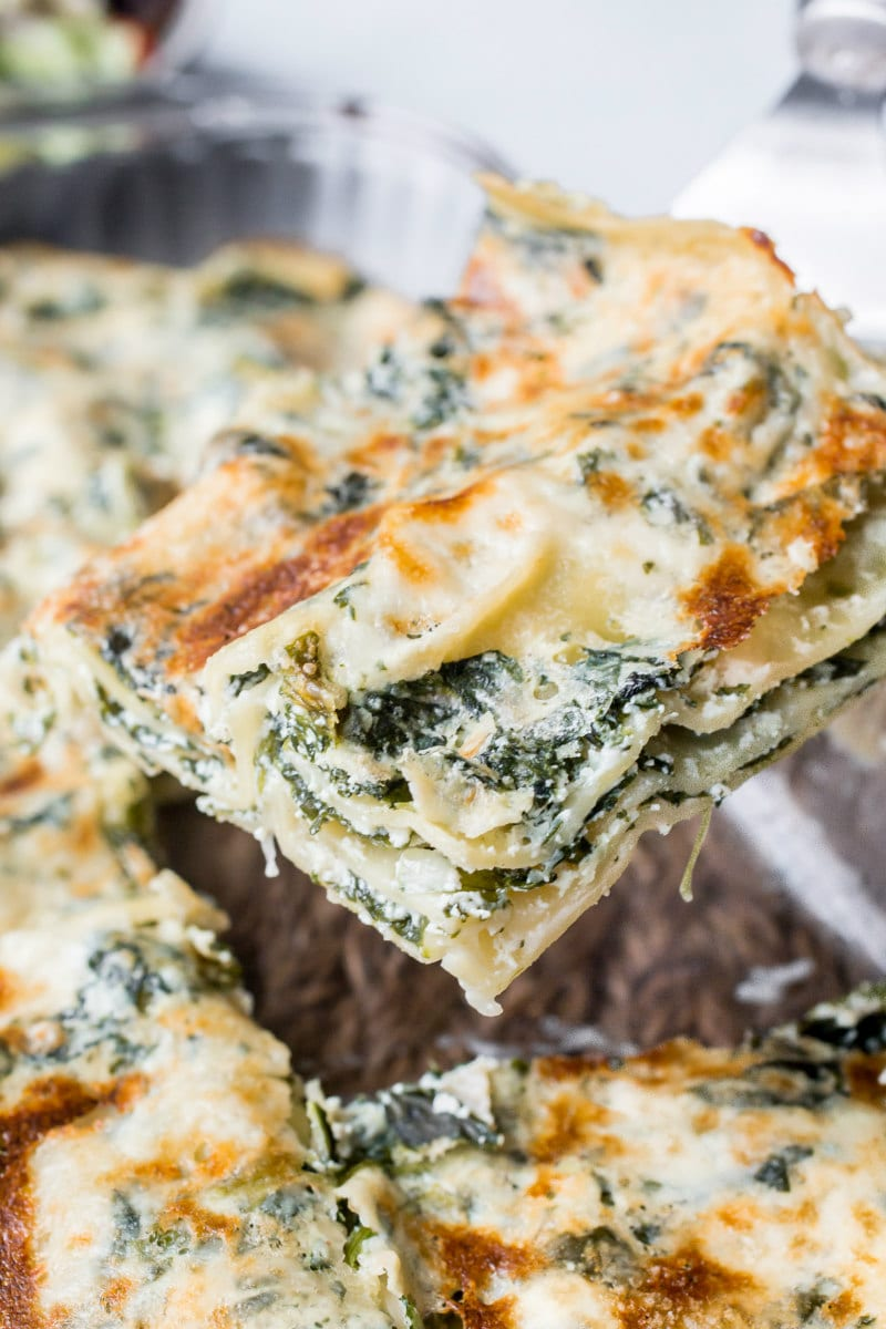 Serving easy spinach lasagna